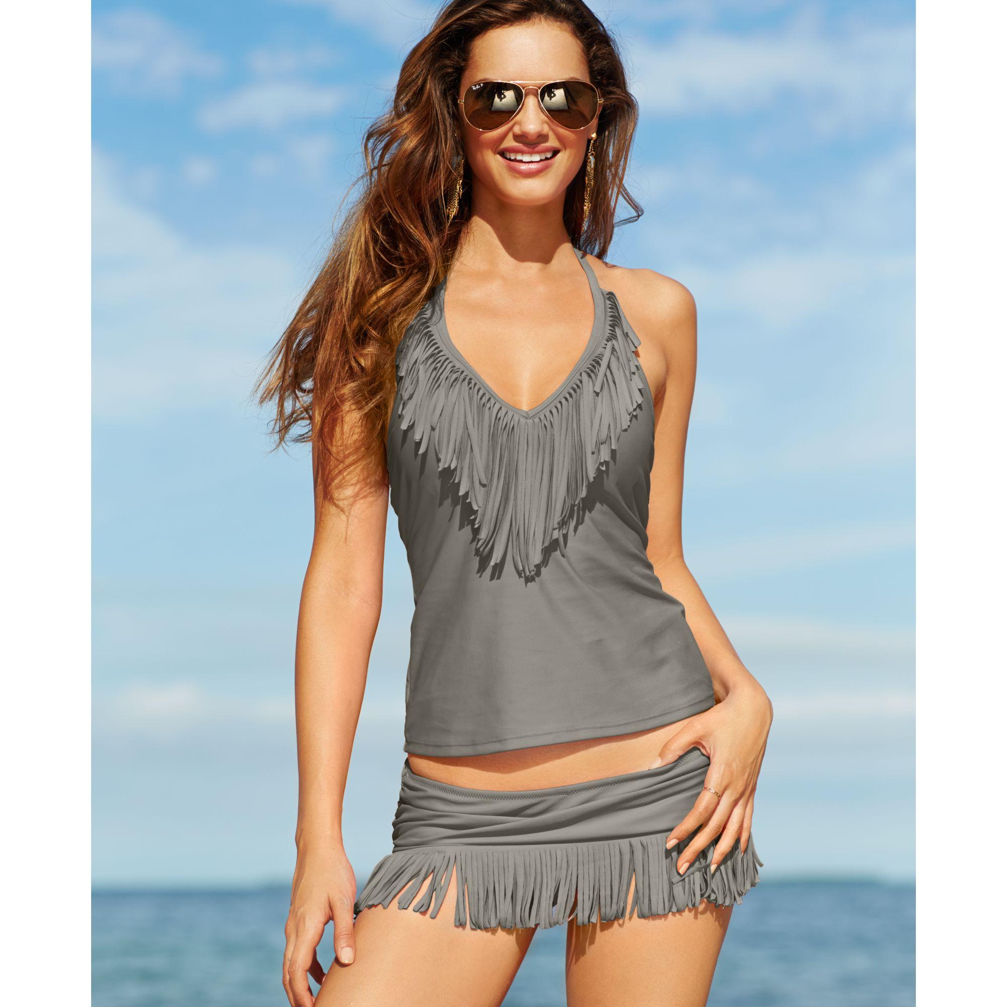 a9d697ab9e Lyst - Jessica Simpson Fringe Swim Skirt in Gray