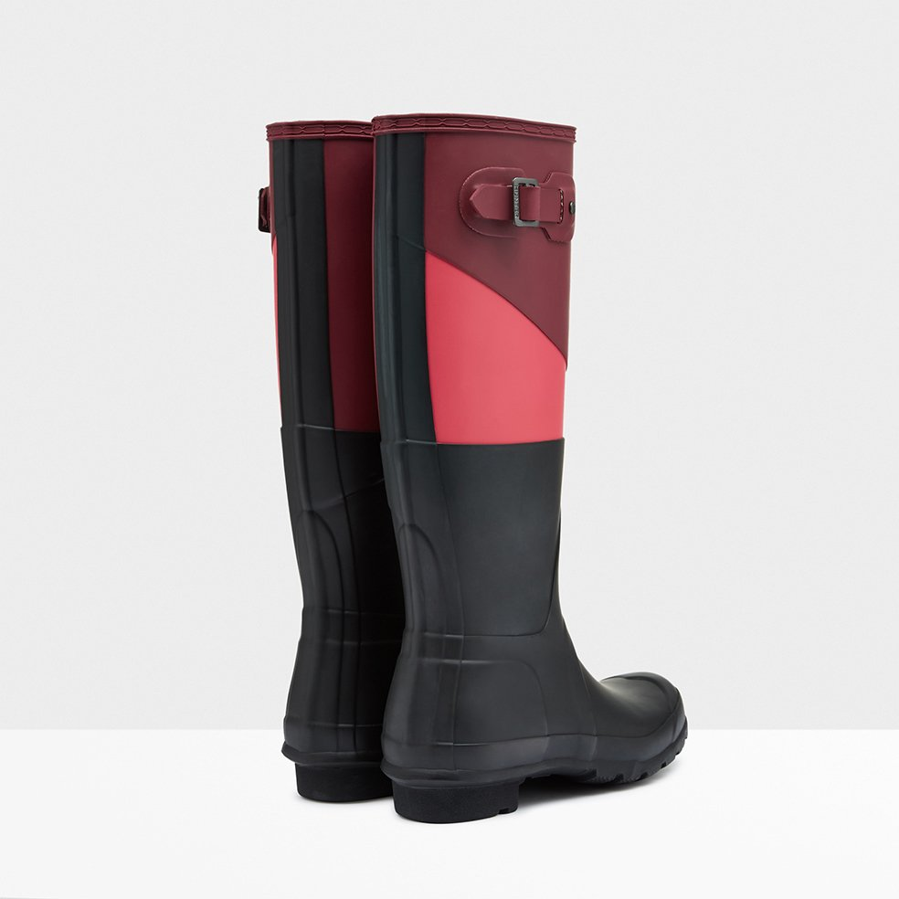 s asymmetric color block boots in black lyst