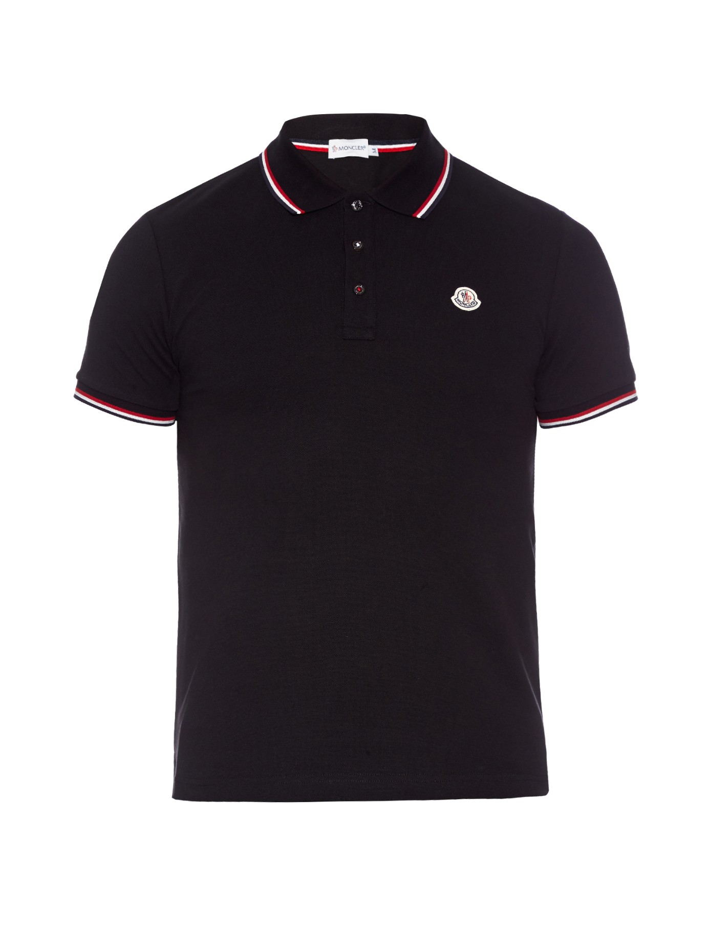 096d57c54 Lyst for Polo trim Black Striped Cotton in Moncler Shirt Men piqué ...