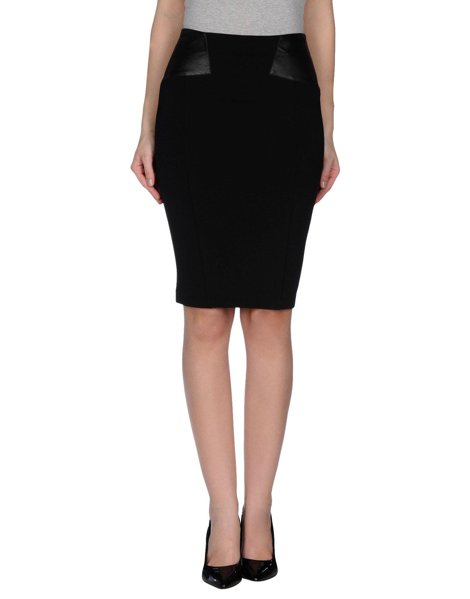 guess knee length skirt in black lyst