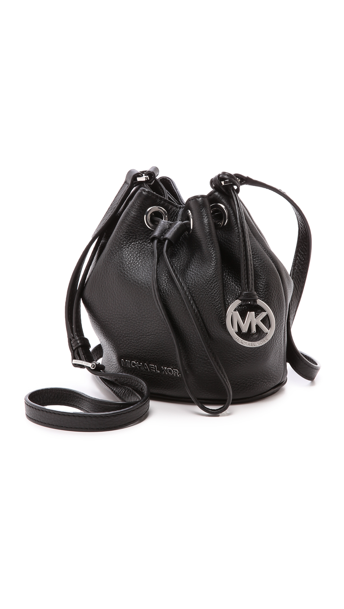 917a96201f32 ... cheapest lyst michael michael kors jules black soft leather drawstring  9acbc 36dad