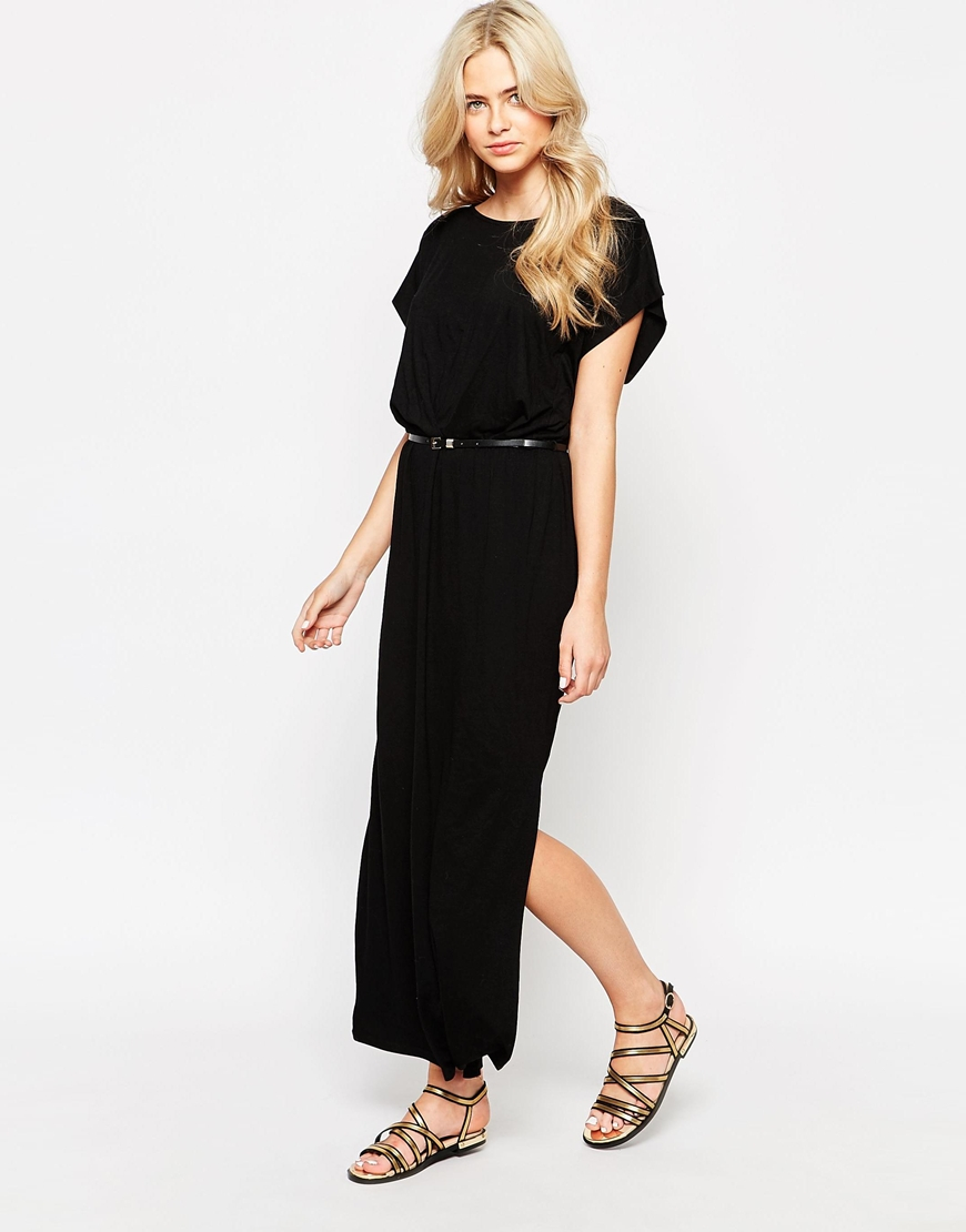 Oasis Asis Thigh Split Belted Maxi Dress In Black Lyst