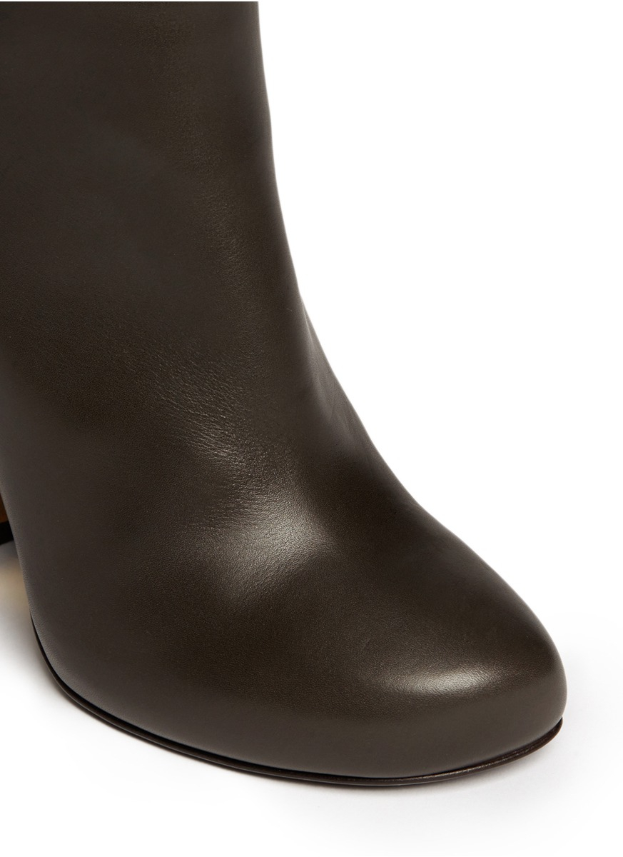 Lyst Lanvin Metal Heel Leather Ankle Boots In Black