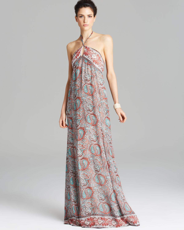 b8f0b63f5f9 Lyst - Rachel Zoe Maxi Dress Tish Summer Pasiley Print Cross Strap ...