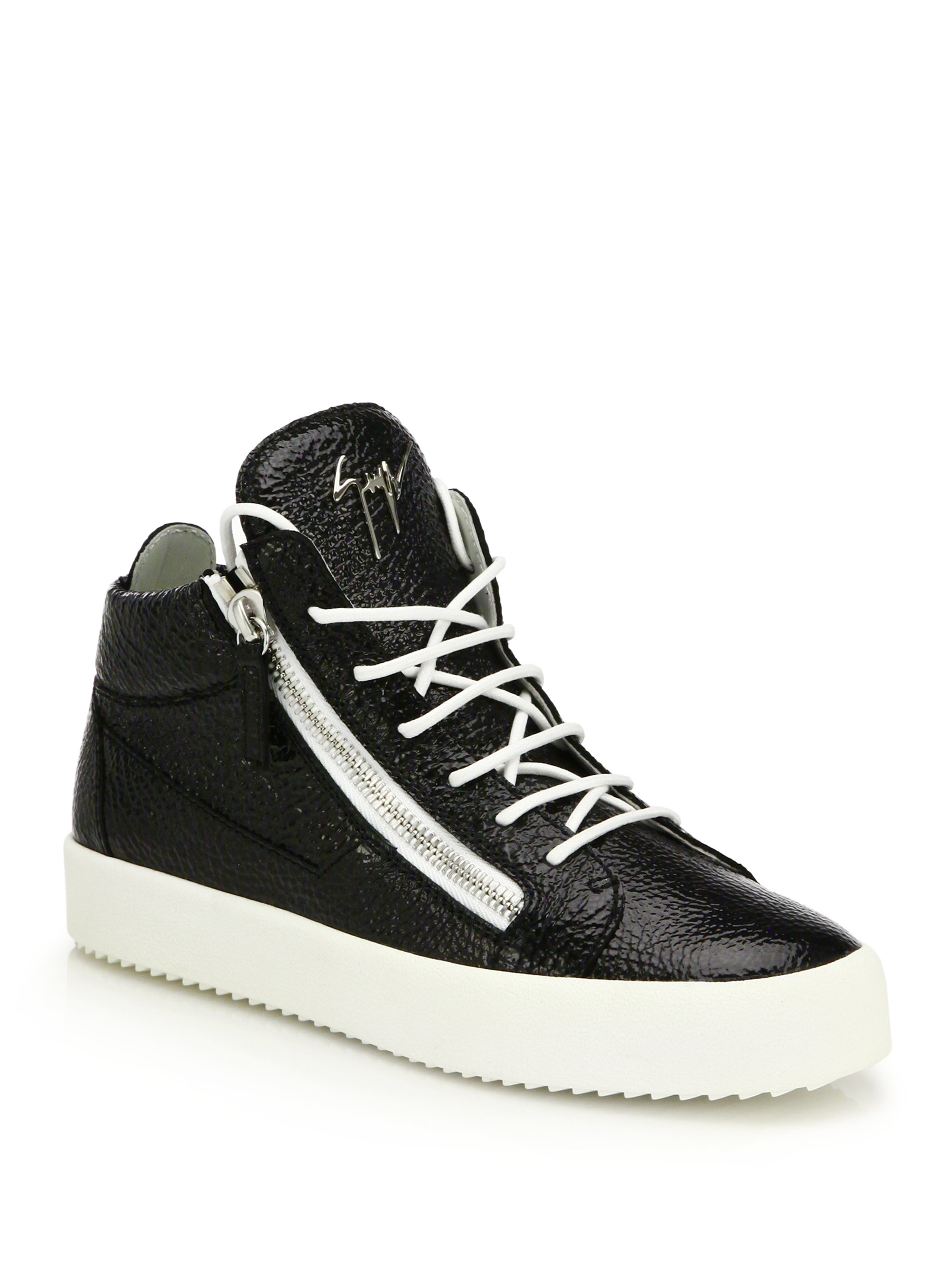 318560b426a08 Lyst - Giuseppe Zanotti Crinkled Leather Double-zip Mid-top Sneakers ...