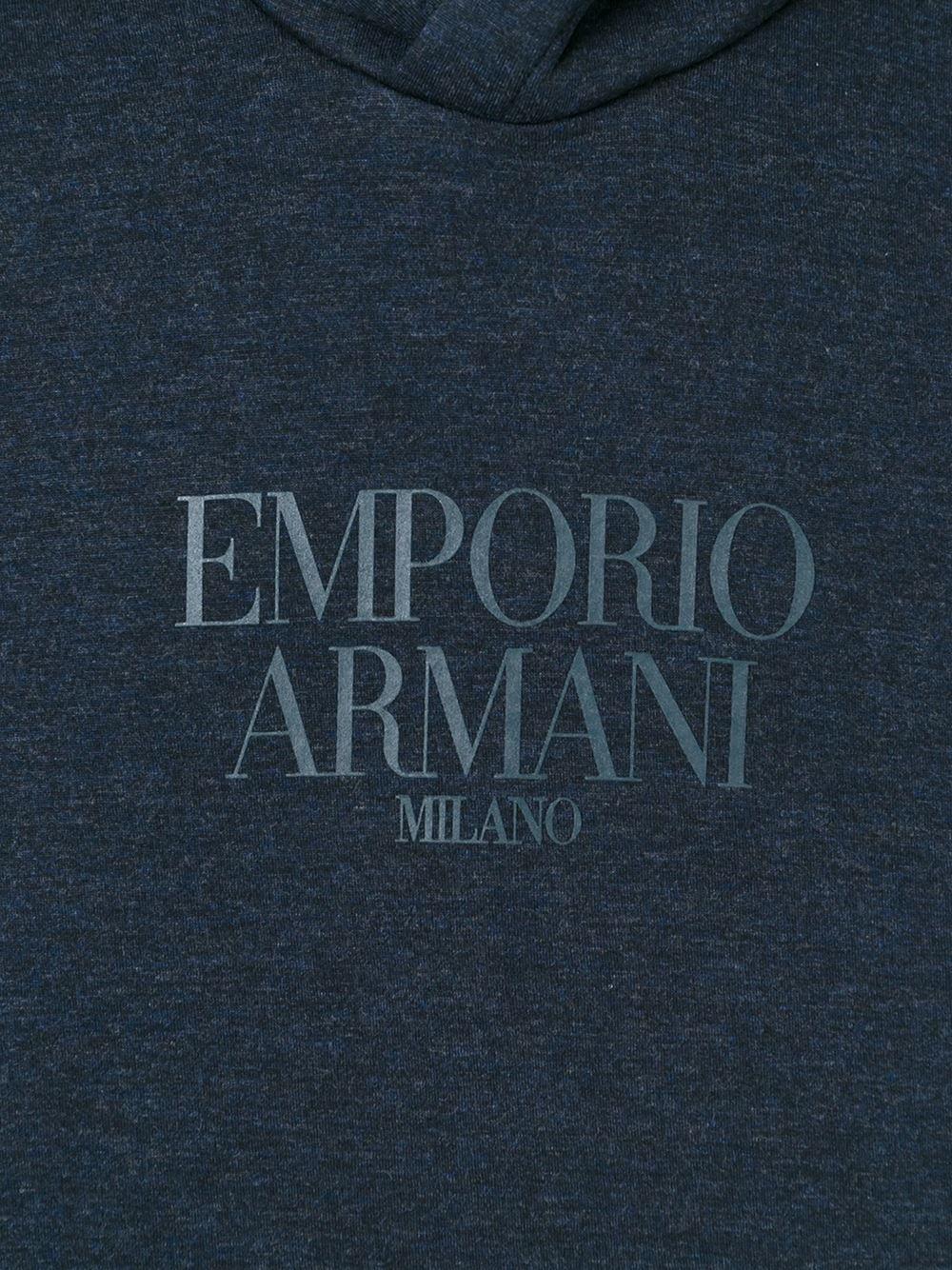 Emporio armani logo hoodie in gray for men grey lyst - Emporio giorgio armani logo ...