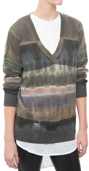 Allegra v neck wool and cashmere blend sweater in beige fern camel