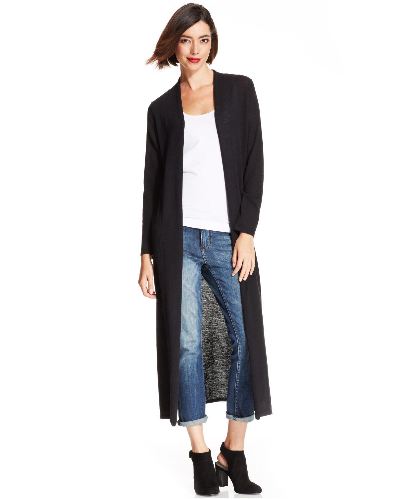 Eileen fisher Merino-Wool Maxi Cardigan in Black | Lyst