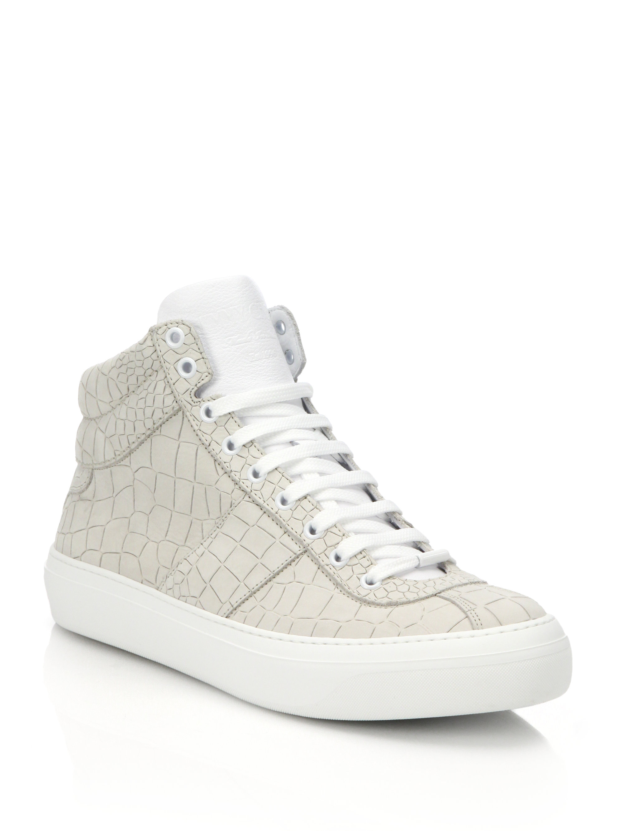 ac1708873c11 Lyst - Jimmy Choo Belgravia Croco-embossed Leather High-top Sneakers ...