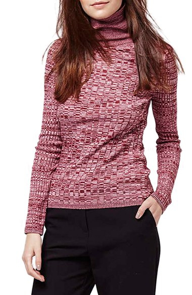 Topshop Ribbed Turtleneck Sweater in Pink | Lyst