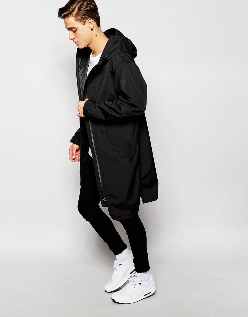 17a0ccc8fecd ASOS Longline Parka Jacket In Black in Black for Men - Lyst