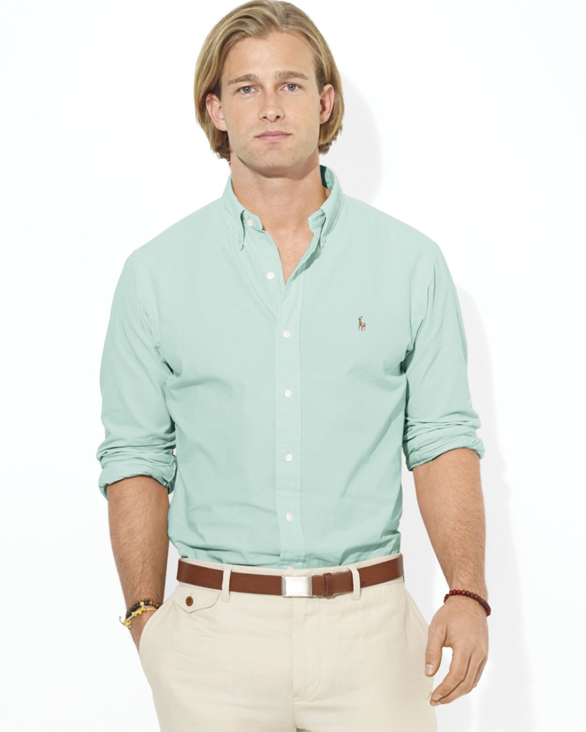 562dd785dc1 ... amazon lyst ralph lauren polo customfit chambray sport shirt in green  for men 7119b dcc24