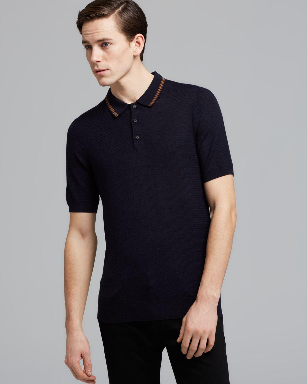 Burberry London Arterton Knit Polo Shirt In Blue For Men