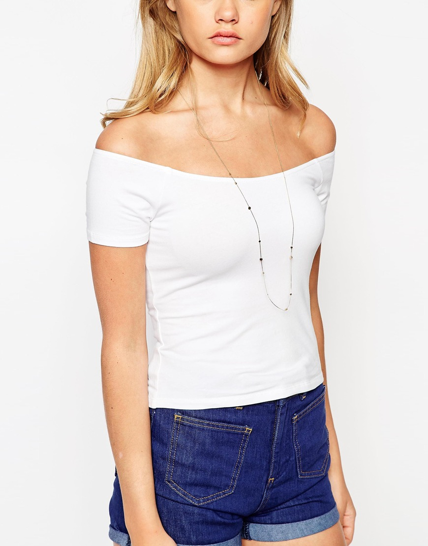 3fcf40a24b033 Lyst - ASOS The Off Shoulder Top With Short Sleeves in White