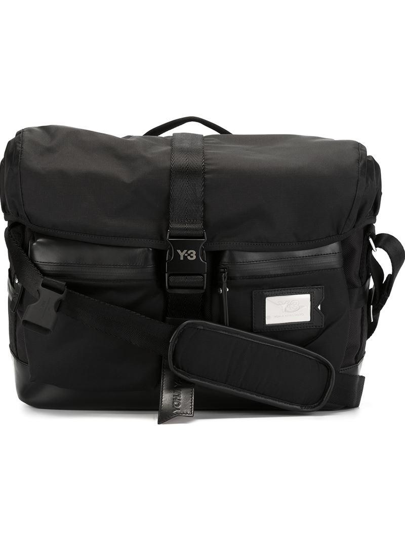 Y-3 Safety Buckle Messenger Bag in Black for Men | Lyst