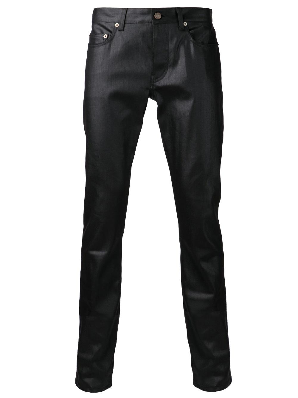 4a01eb0106e Saint Laurent Wax Denim Jeans in Black for Men - Lyst