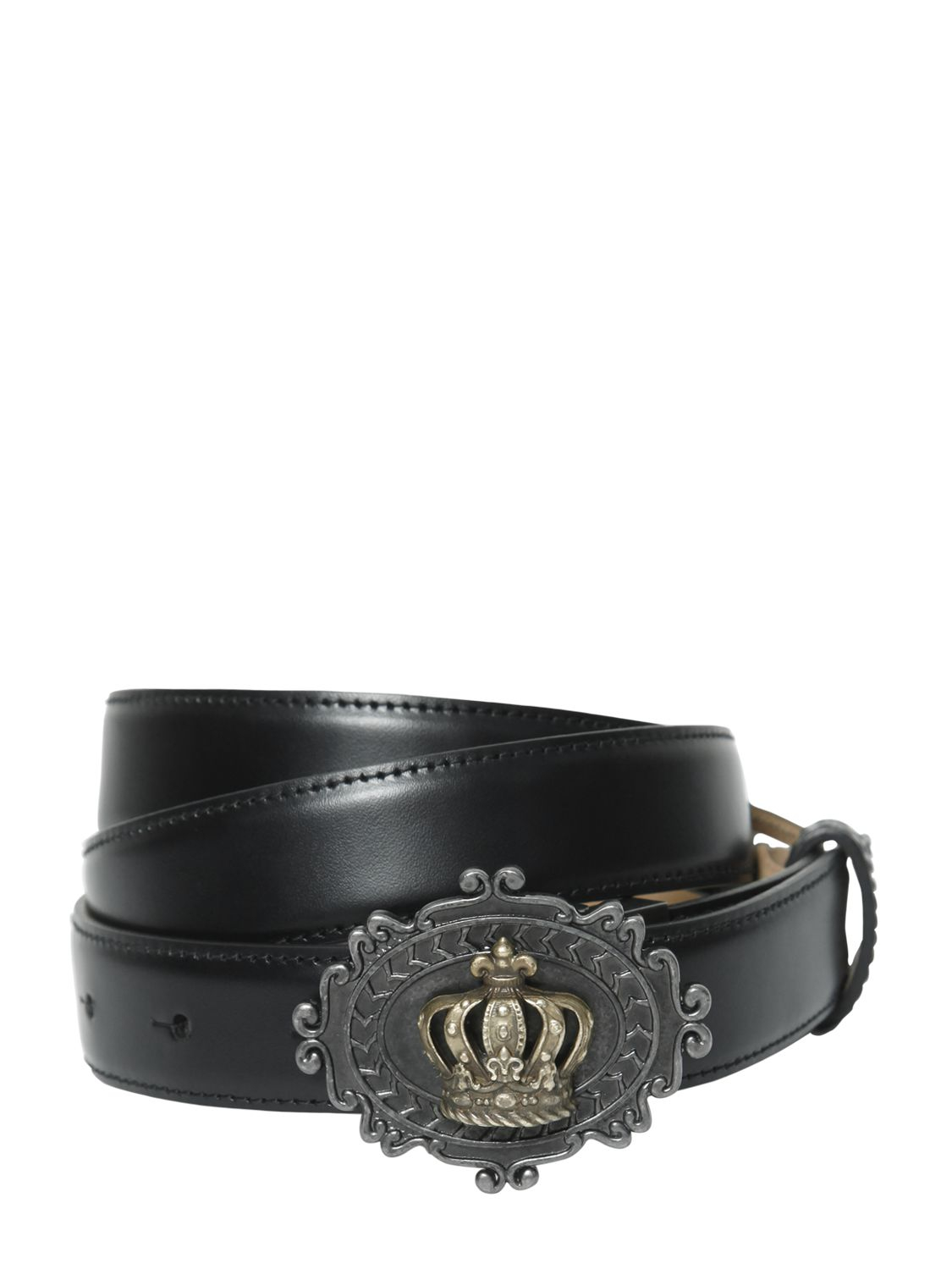 27f9f67d84 ... discount code for dolce gabbana 25mm crown buckle leather belt in black  for men lyst 0015e