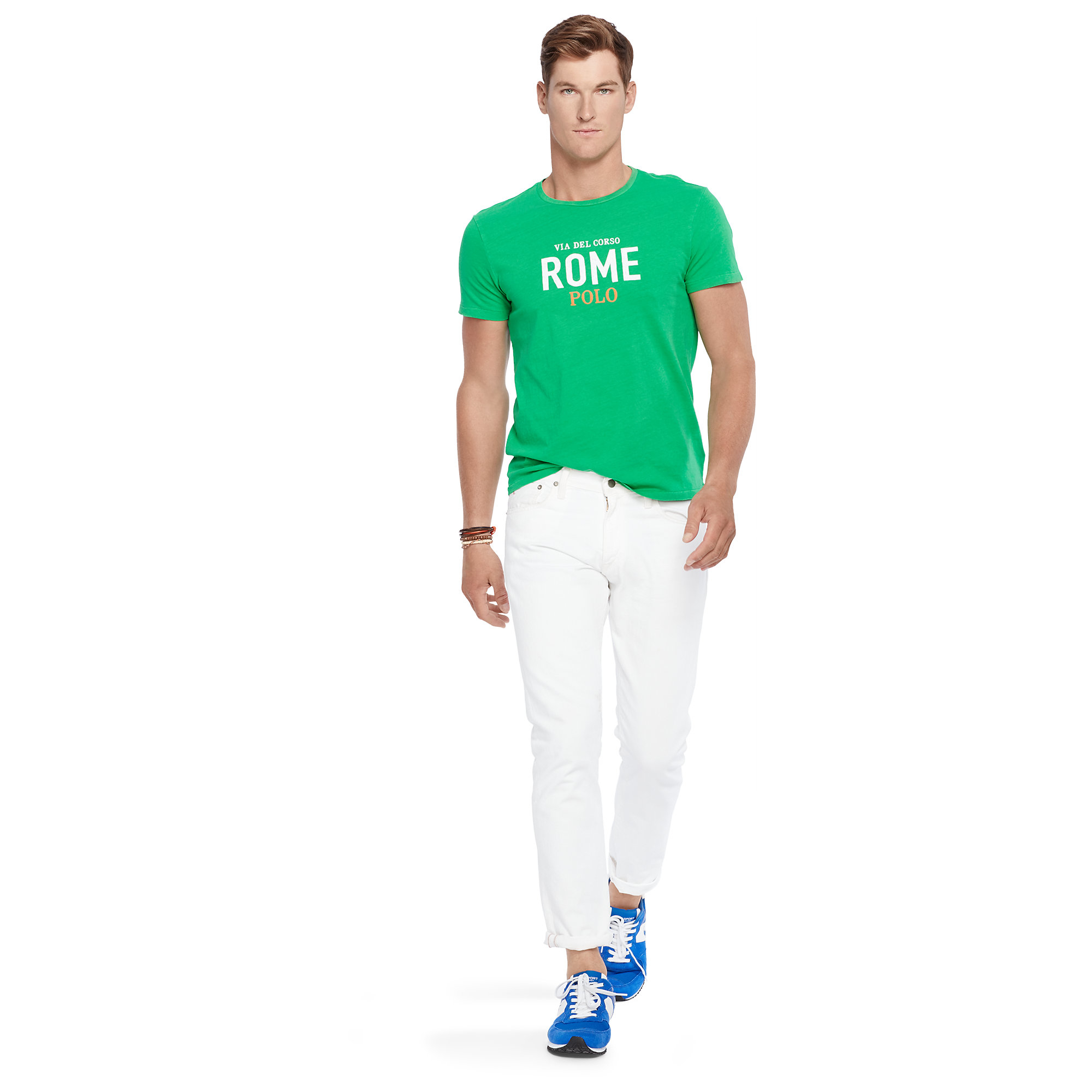 polo ralph lauren custom fit graphic t shirt in green for. Black Bedroom Furniture Sets. Home Design Ideas