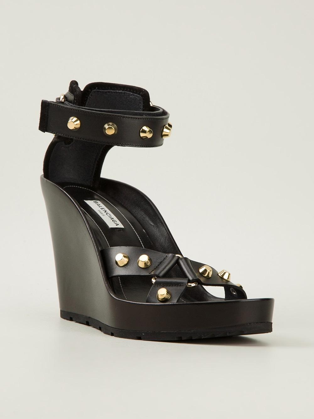 Lyst Balenciaga Studded Wedge Sandal In Black
