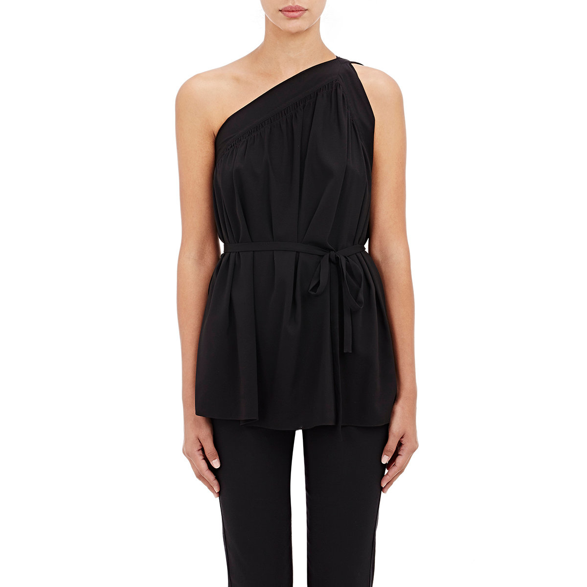 helmut lang women 39 s one shoulder belted top in black lyst. Black Bedroom Furniture Sets. Home Design Ideas