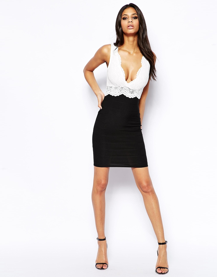 d3d3d4f5f5 Lipsy Bodycon Dress with Lace Trim in Black - Lyst