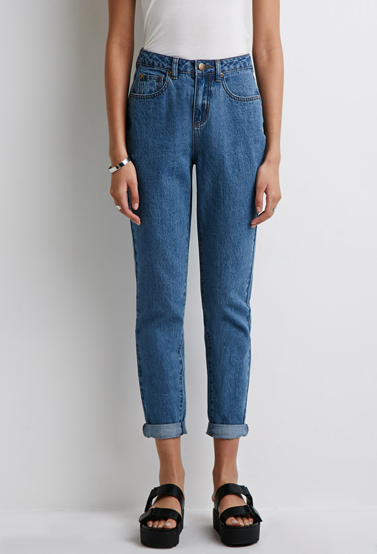 lyst forever 21 high rise mom jeans in blue. Black Bedroom Furniture Sets. Home Design Ideas
