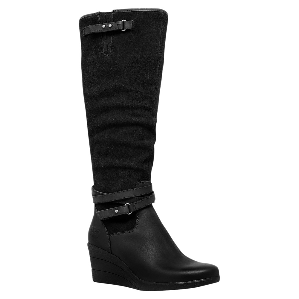 ugg lesley leather knee high boots in black lyst