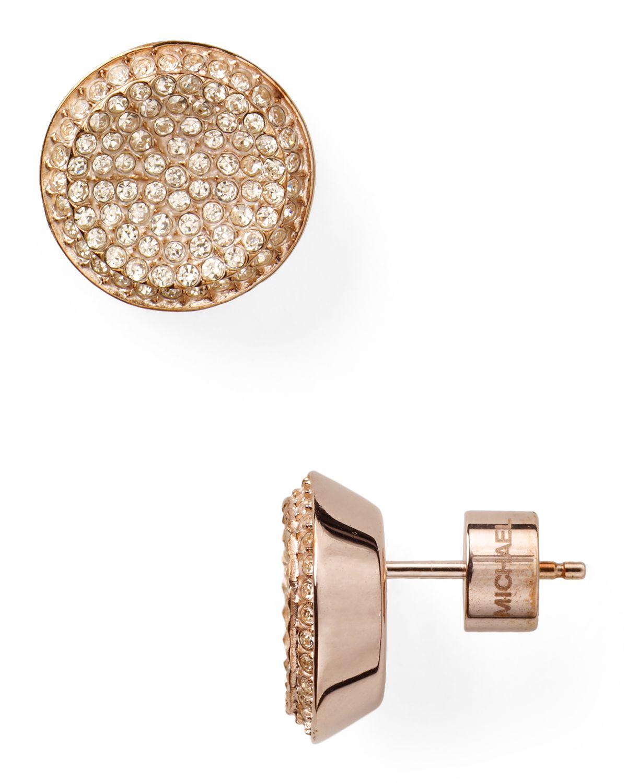 lyst michael kors concave pave stud earrings in metallic. Black Bedroom Furniture Sets. Home Design Ideas