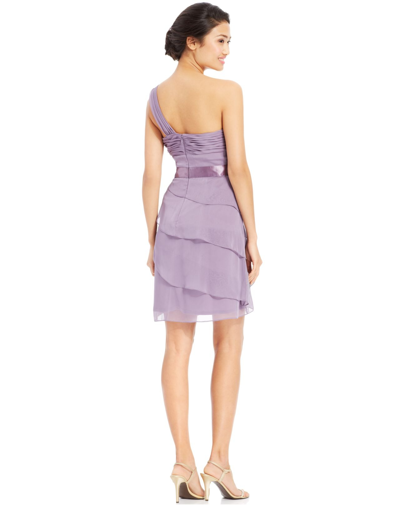 Adrianna papell One-shoulder Tiered Chiffon Dress in Purple | Lyst