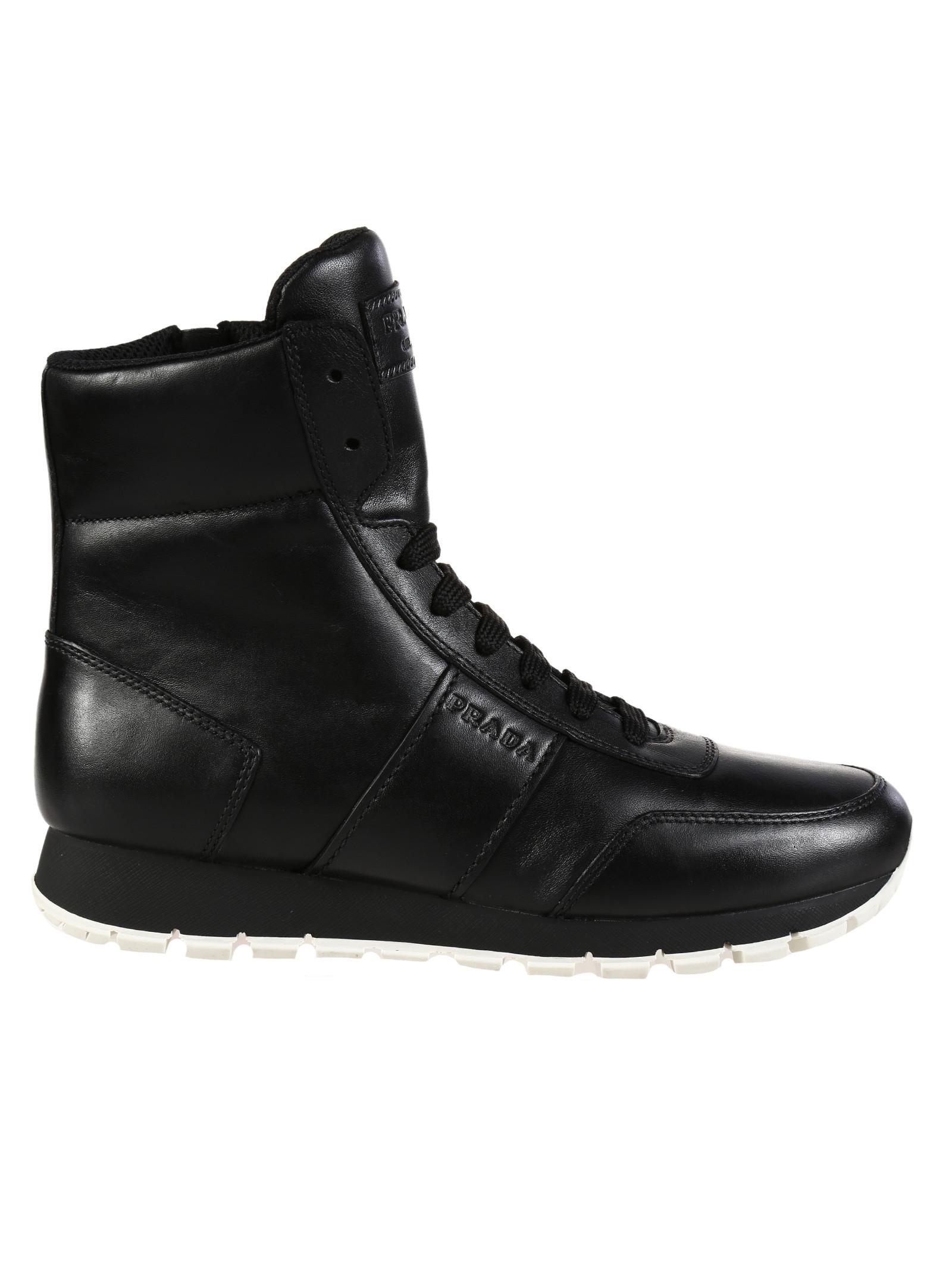 prada linea rossa leather boots in black lyst
