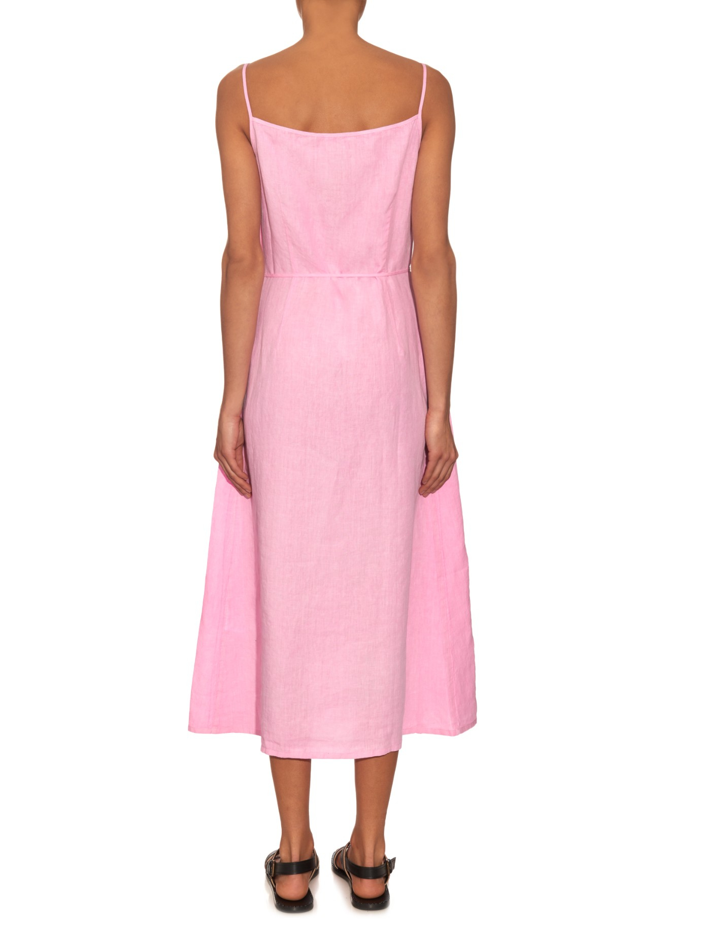 55d85ae537b Lyst - Tomas Maier Washed-Linen Wrap Dress in Pink