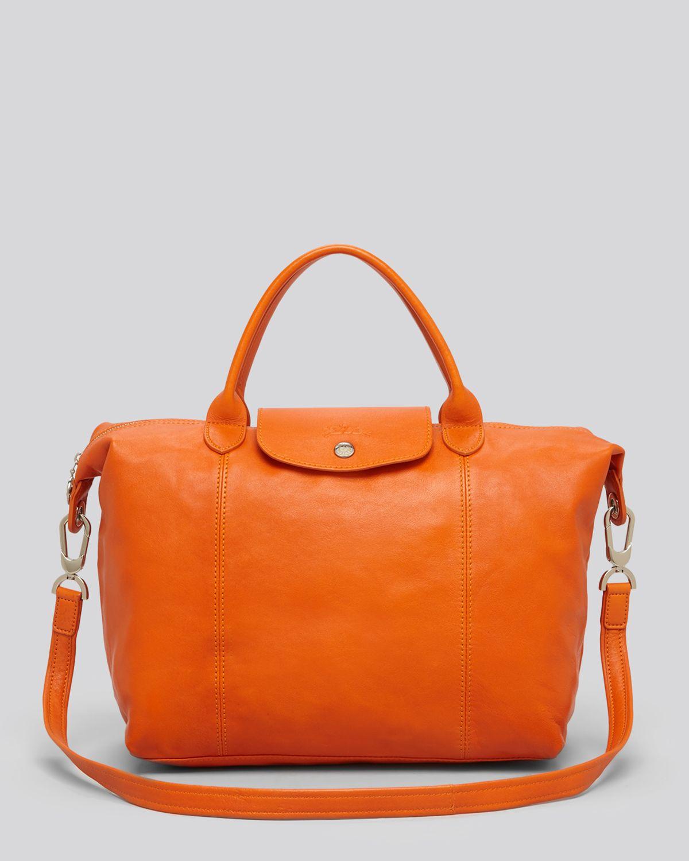 Lyst Longchamp Tote Le Pliage Cuir Medium In Orange
