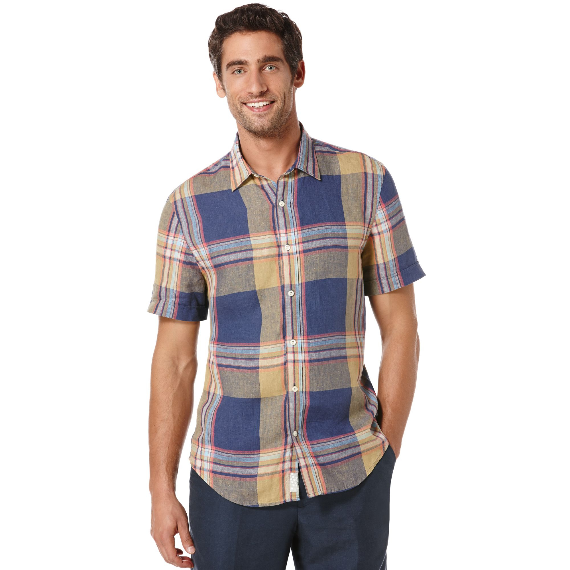 Perry Ellis Big And Tall Linen Picnic Plaid Shirt In Blue