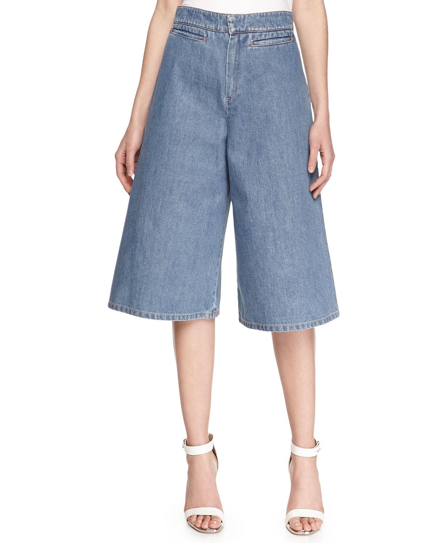 Stella mccartney Denim Gaucho Pants in Blue