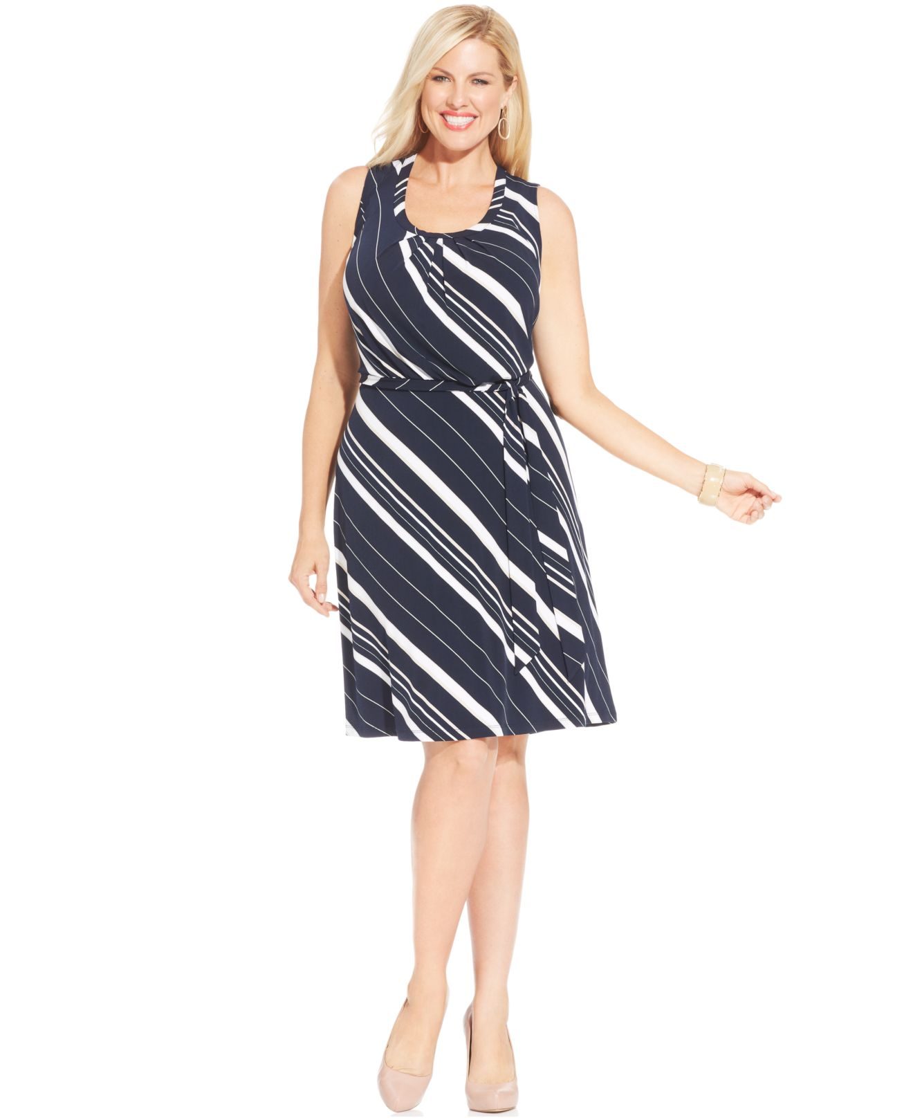 Jones new york collection plus size striped a line dress for New york and company dress shirts