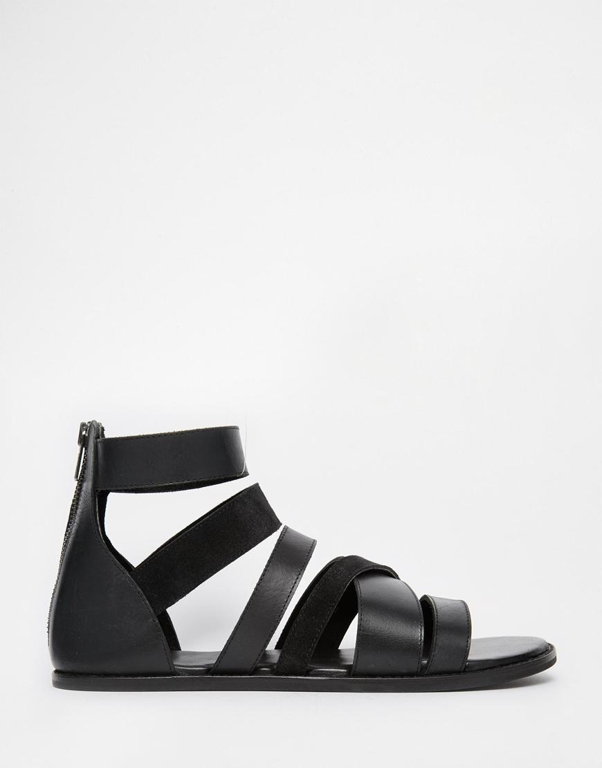 31c64b0f5e19 Lyst - ASOS Gladiator Sandals In Black Leather in Black for Men