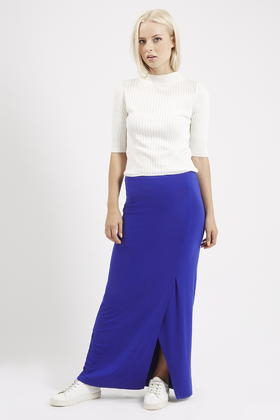 Topshop Wrap Over Maxi Skirt in Blue | Lyst