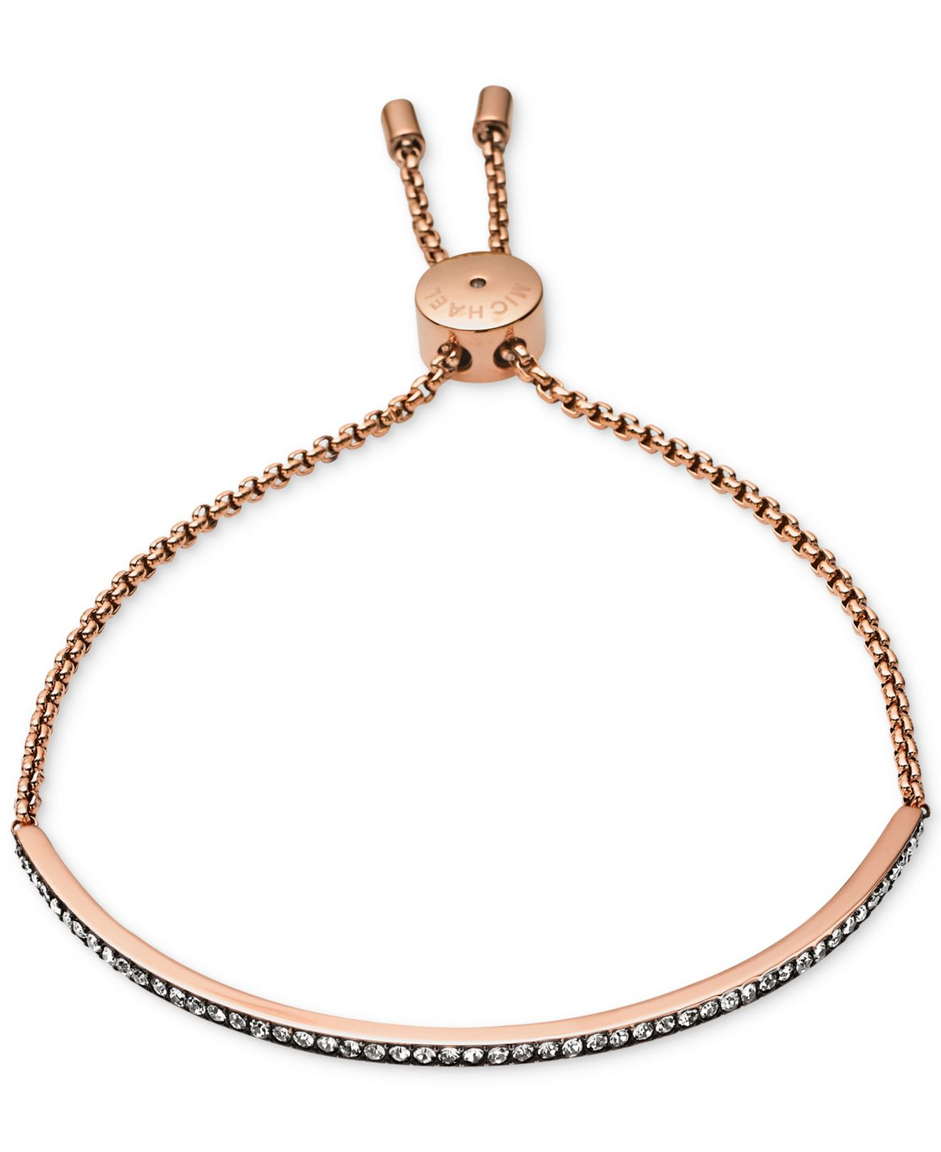 Lyst Michael Kors Rose GoldTone Crystal Slider Bar Bracelet in Pink