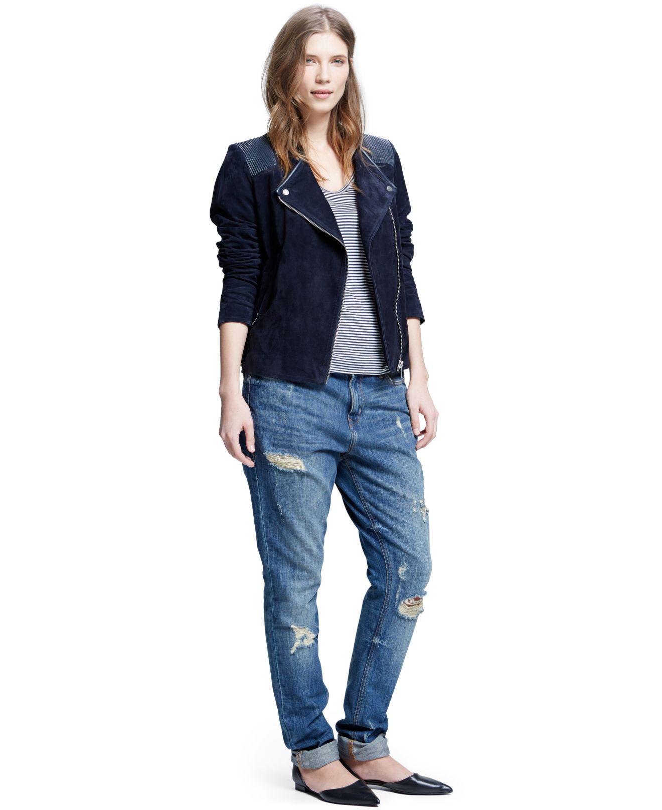 Violeta By Mango Plus Size Suede Moto Jacket In Blue Lyst