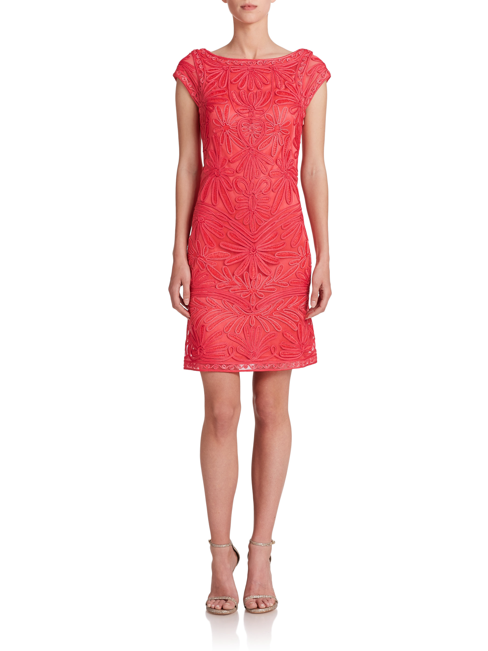 Lyst sue wong soutache embroidered shift dress in red