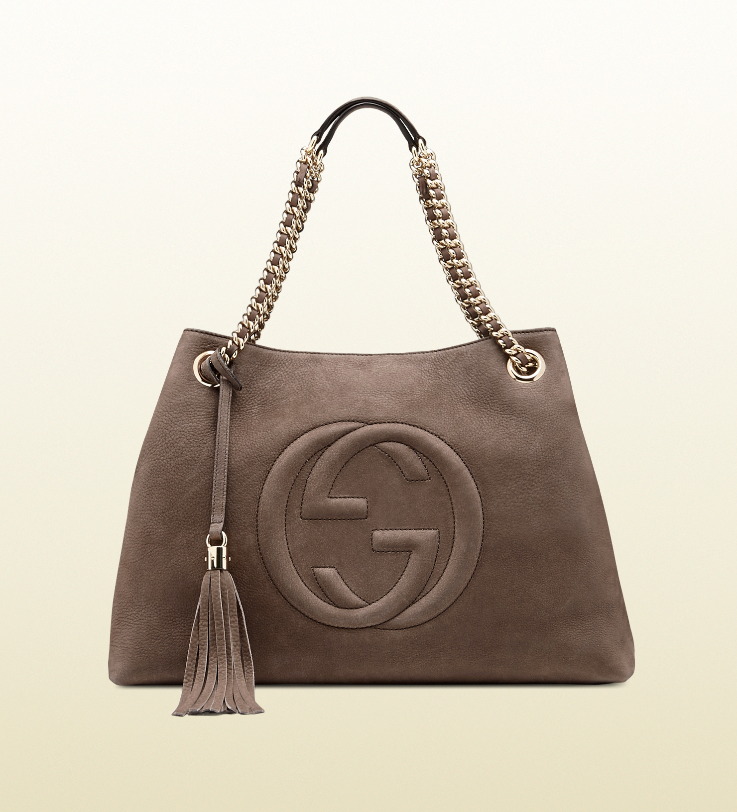 lyst gucci soho nubuck leather shoulder bag in gray. Black Bedroom Furniture Sets. Home Design Ideas