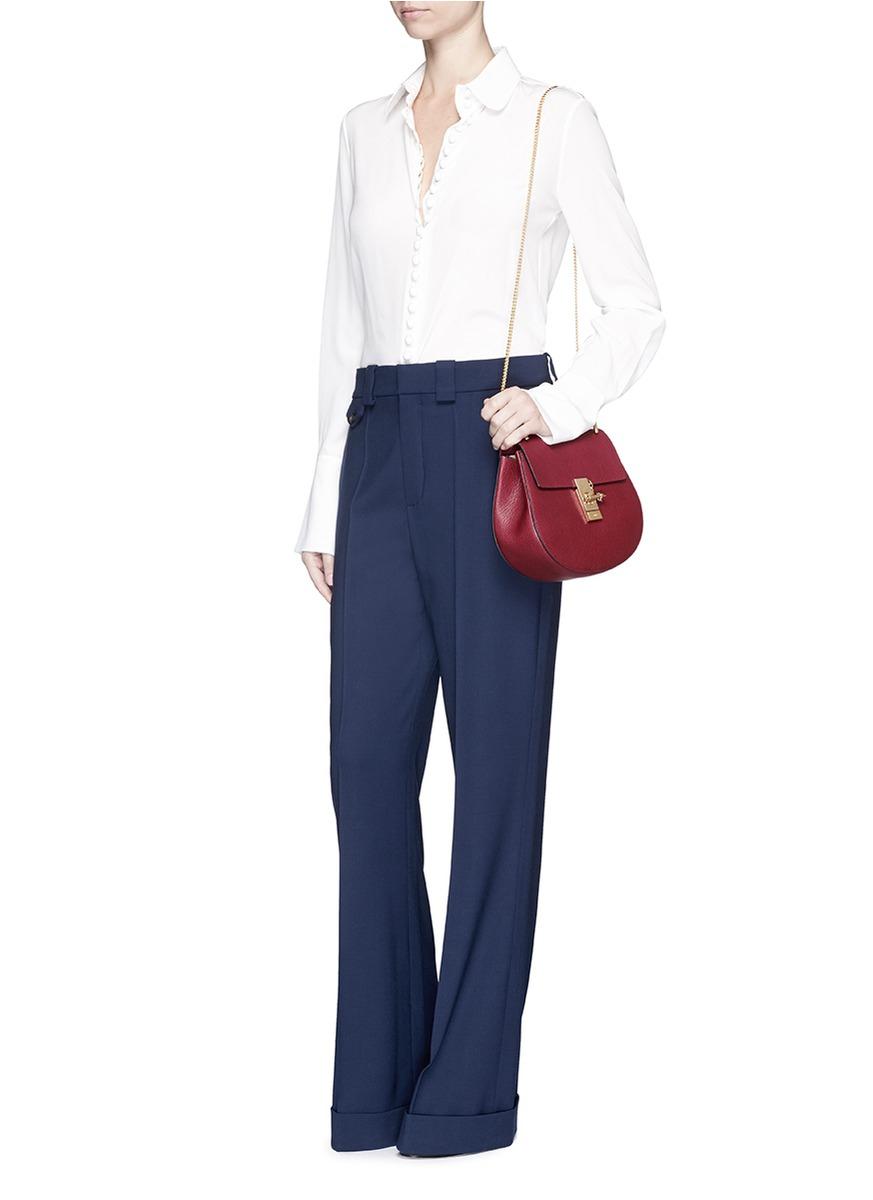 Chlo�� \u0026#39;drew\u0026#39; Small Grainy Leather Shoulder Bag in Red | Lyst