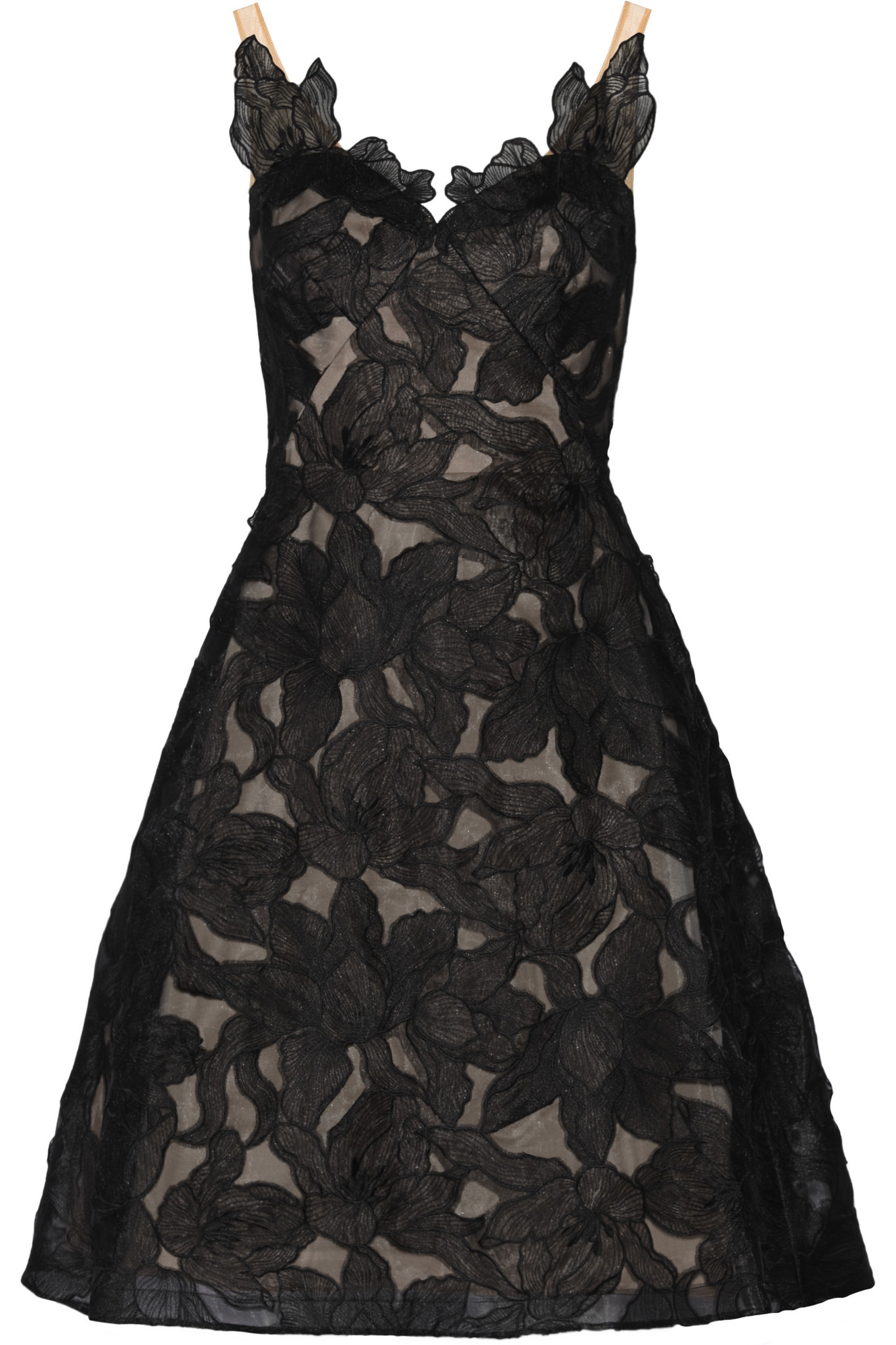 Notte by marchesa floral embroidered organza dress in