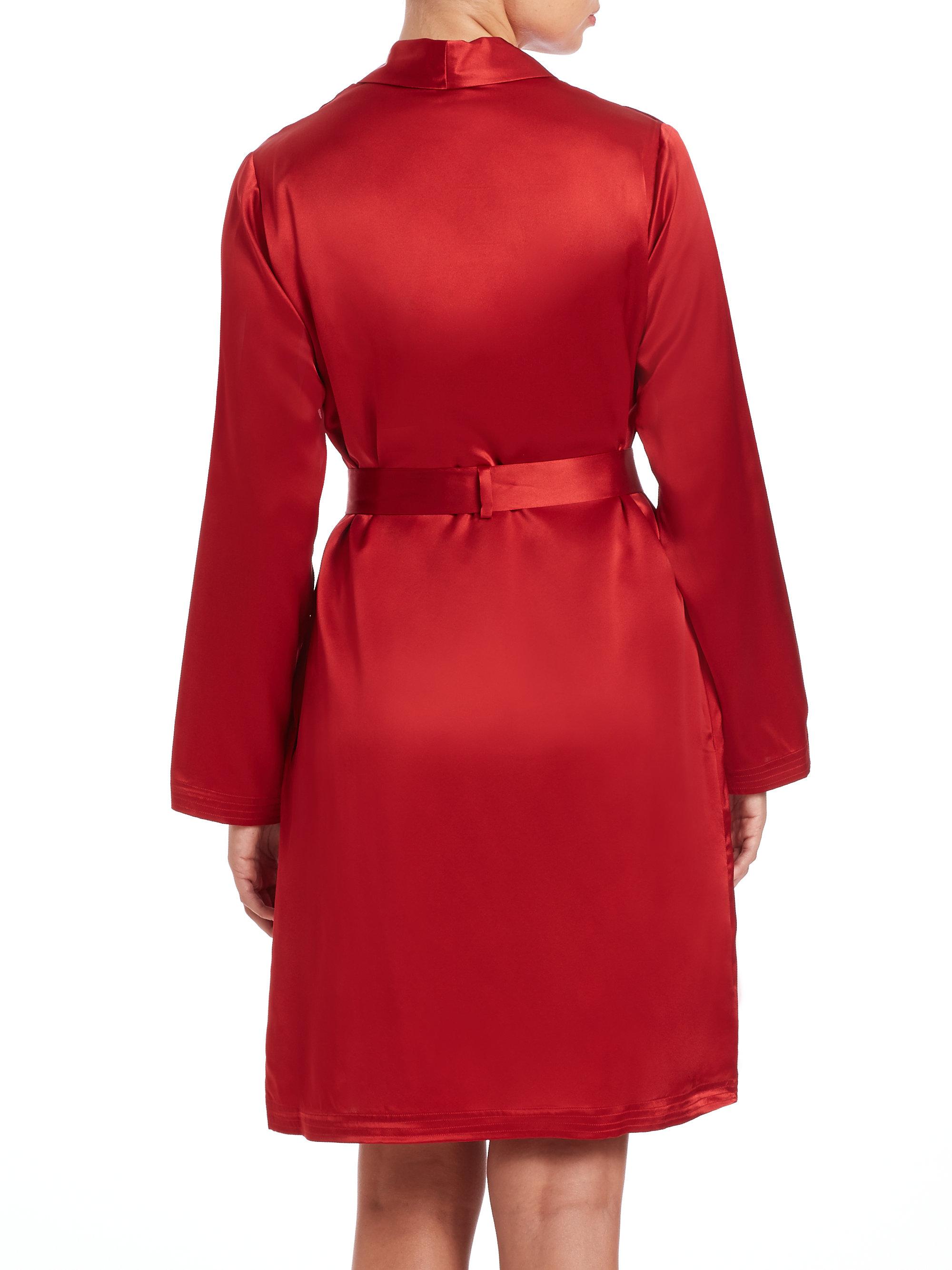 Lyst - Donna Karan Long Silk Glamour Robe in Red |Red Silk Robe