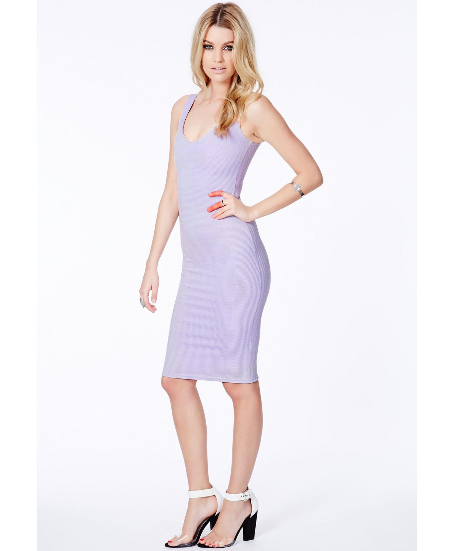 Lyst - Missguided Ryana Ribbed Bodycon Midi Dress In Lilac ...