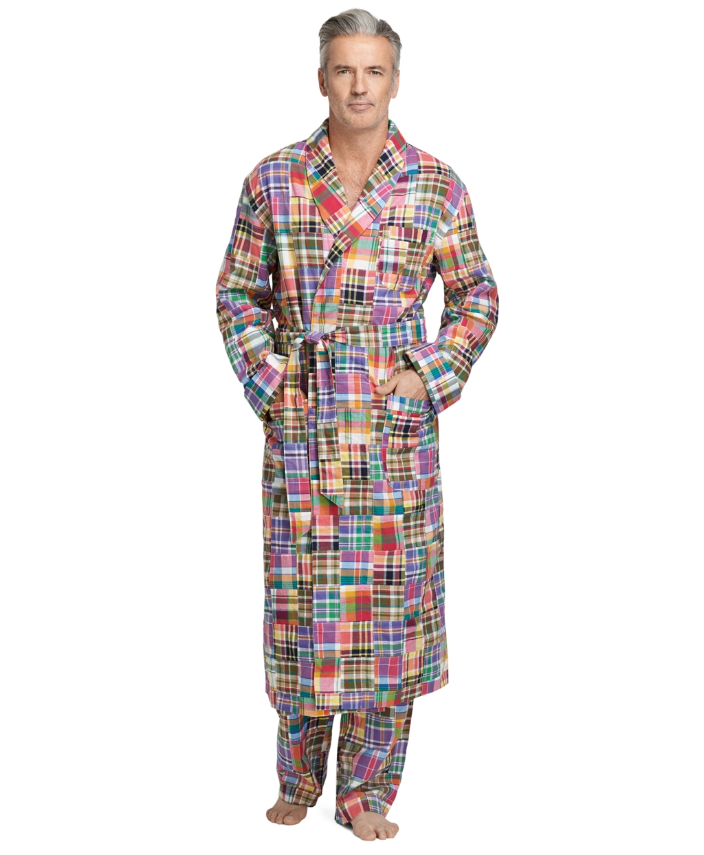 price complimentary shipping select for latest Brooks Brothers Orange Patchwork Madras Robe for men