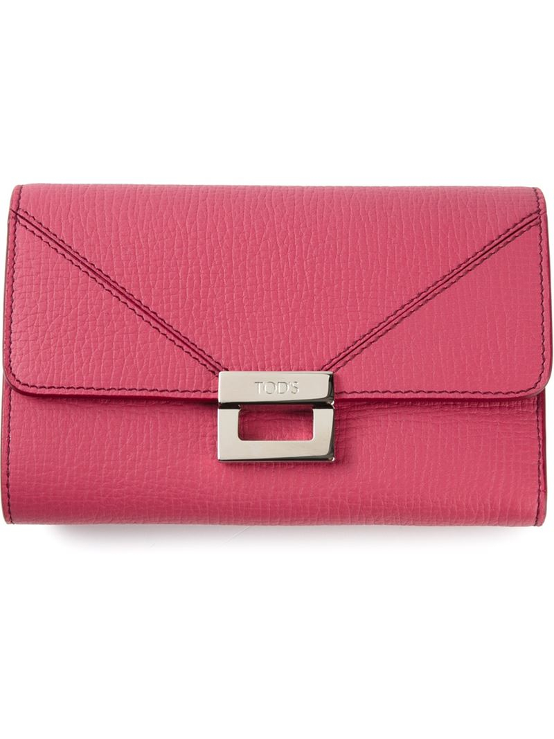 90701b0bcc Tod's Flap Closure Wallet in Pink - Lyst