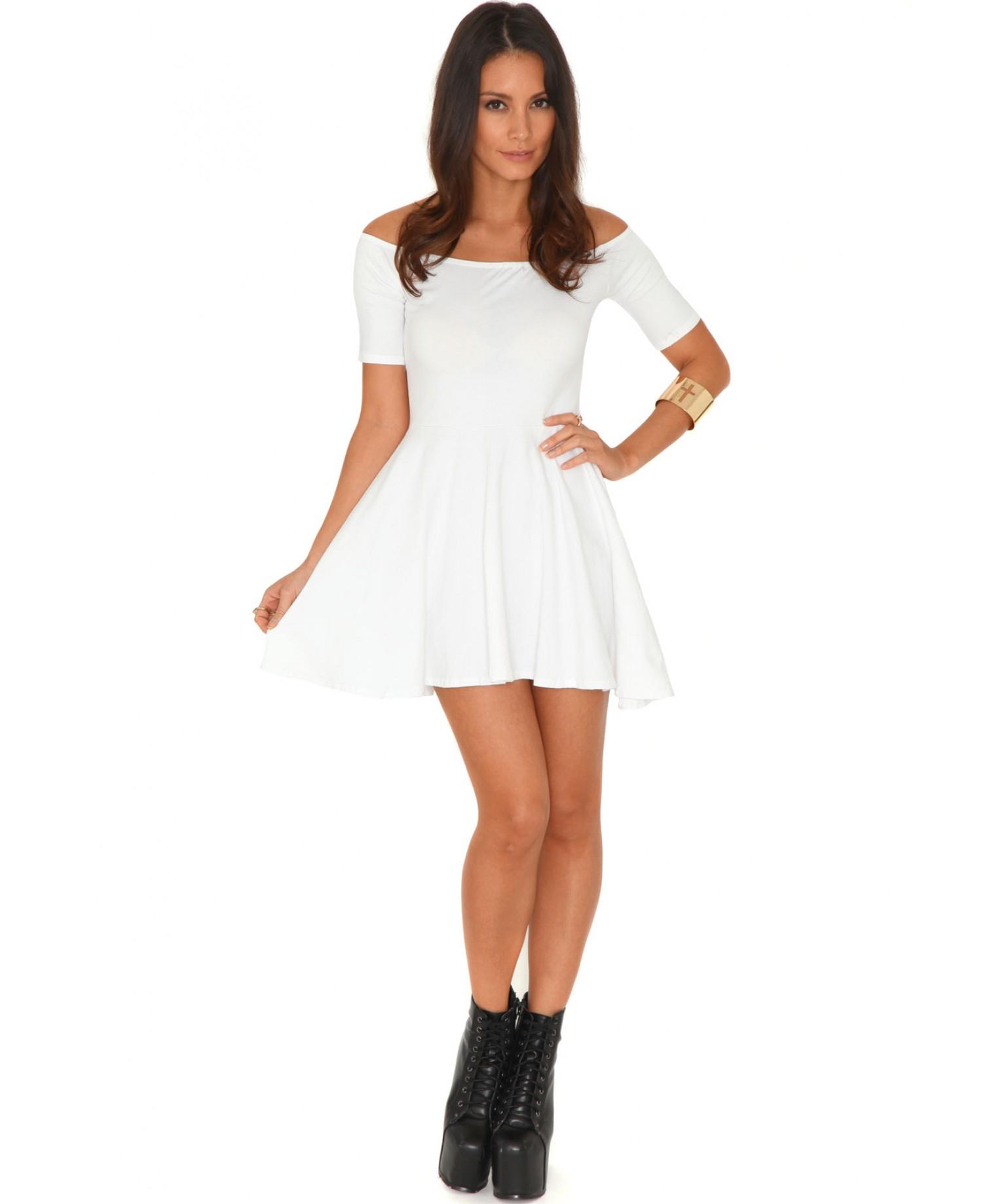 Missguided Mirabela Value Bardot Skater Dress In White in White   Lyst