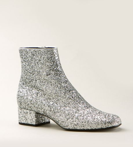 laurent silver sequined babies 40 ankle boots in