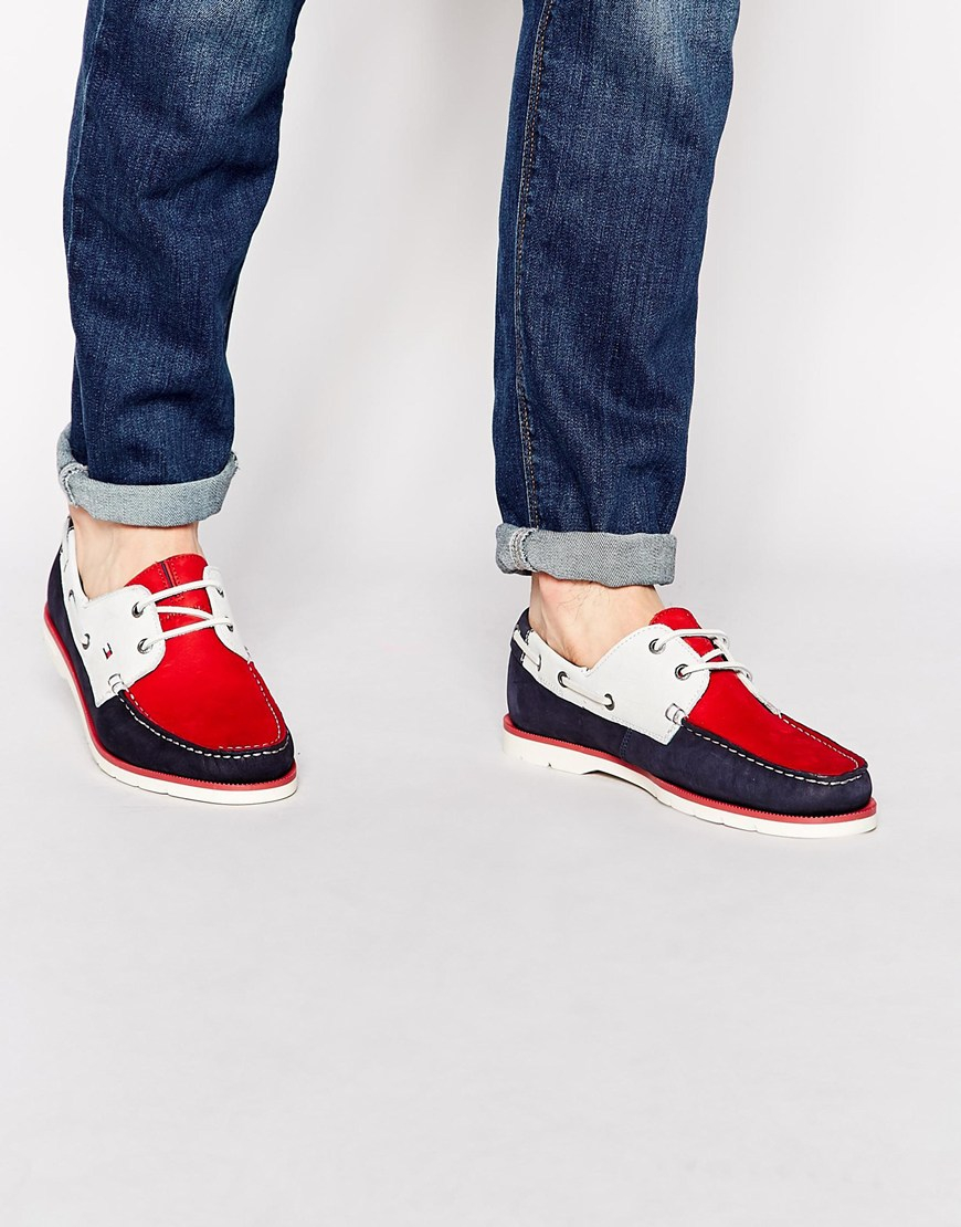 5dcb37edf71833 Lyst - Tommy Hilfiger Nubuck Leather Boat Shoes in Red for Men